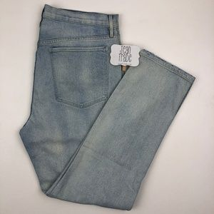 NWOT 3X1 Light Wash Distressed Straight Leg Jeans